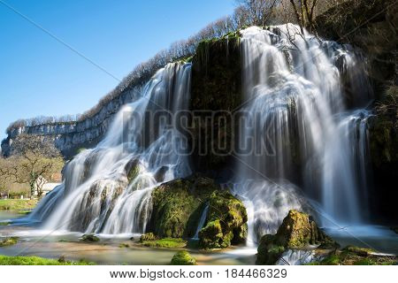 Baume-les-messieurs, Franche-comte, France. Cascade Waterfall In Crancot, Franche-comte, France