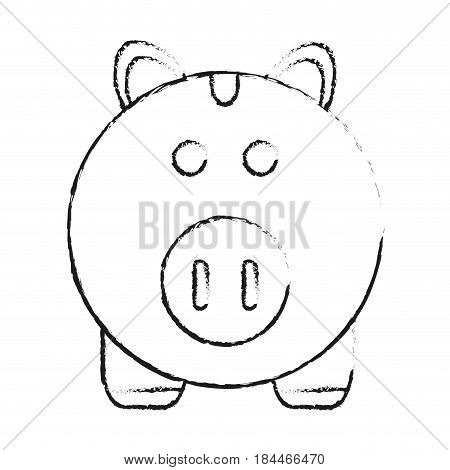 black blurred silhouette cartoon piggy bank with dollar coins vector illustration