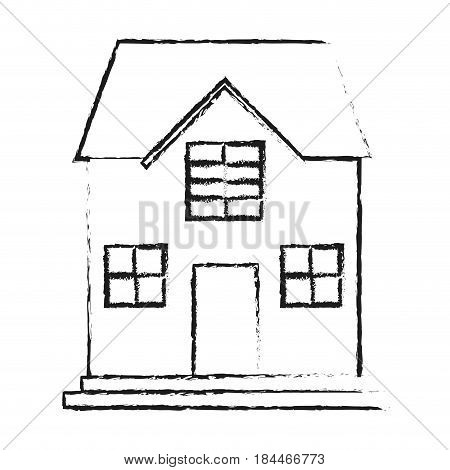 black blurred silhouette cartoon facade confortable house with two floors vector illustration