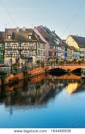 canal scene of Colmar, most famous town of Alsace, France