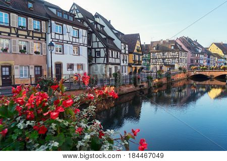 view of canal, Colmar, most famous town of Alsace, France