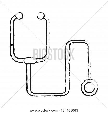 black blurred silhouette cartoon stethoscope medical with auriculars vector illustration