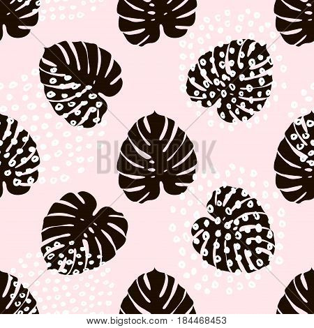 Palm branch trendy seamless pattern with hand drawn elements. Monstera leaf background. Great for fabric textile Vector Illustration