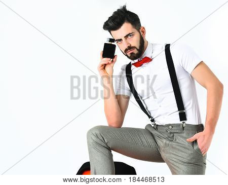 Bearded Man, Caucasian Hipster With Moustache And Perfume Bottle