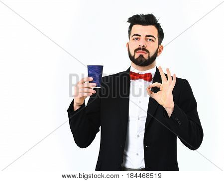 Bearded Man, Caucasian Hipster With Moustache And Plastic Coffee Cup