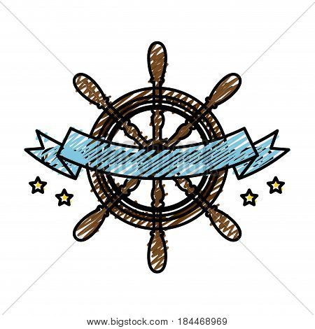 emblem with rudder wheel and decorative ribbon icon over white background. sea lifestyle concep. vector illustration