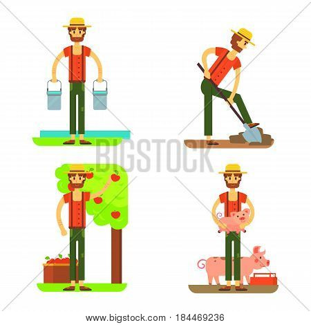 farmers using agricultural tools. Set farmer vector