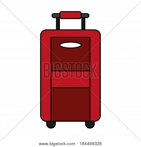 color image travel suitcase with handle vector illustration