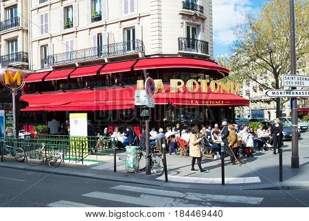 Paris France - April 02 2017: La Rotonde in the Montparnasse Quarter - one of the most legendary and the famous Parisian cafes. There were often Modigliani Picasso Chagall Kandinsky