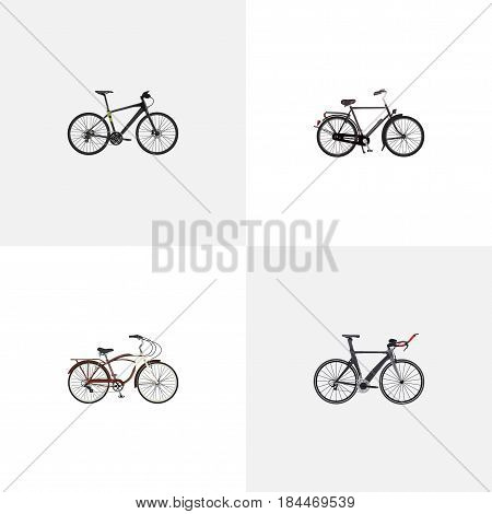 Realistic Training Vehicle, Competition Bicycle, Journey Bike And Other Vector Elements. Set Of Bike Realistic Symbols Also Includes Triathlon, Bicycle, Training Objects.