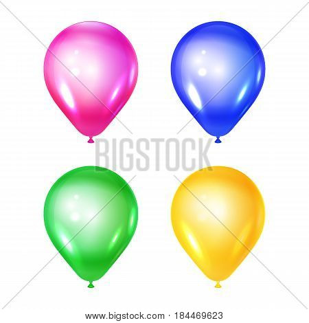 Vector illustration of the set of shiny ballons. Isolated on white. Celebratory elements. Used for party or birthday.