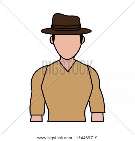 color image silhouette half body faceless explorer man with hat vector illustration