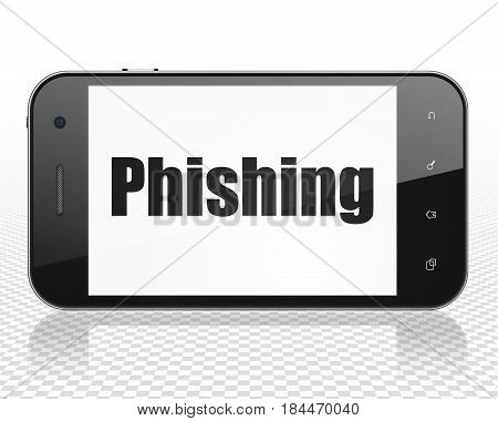 Security concept: Smartphone with black text Phishing on display, 3D rendering