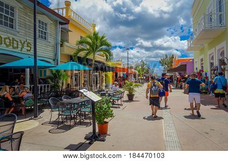 Colorful shop eatery plaza, grocery strore, where people can buy souvenirs to as a memory about beautiful Tropical Island. The economy of Cozumel is based on tourism.