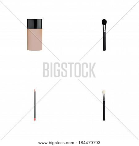 Realistic Concealer, Powder Blush, Beauty Accessory And Other Vector Elements. Set Of Cosmetics Realistic Symbols Also Includes Concealer, Foundation, Blush Objects.