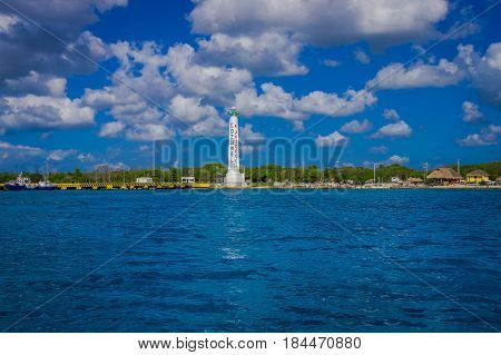 COZUMEL, MEXICO - MARCH 23, 2017: The monument of Apiqroo was inaugurated by Governor Carlos Joaquin as part of a tour that he made on the island of Cozumel, wich attracts the attention of the 500 tourists.