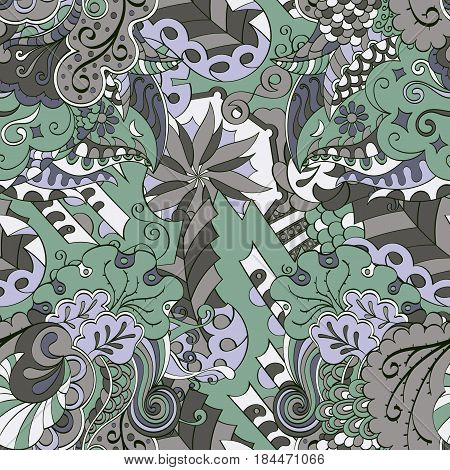 Tracery Seamless Calming Pattern. Mehendi Design. Ethnic Color Doodle Texture. Indifferent Discreet.