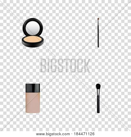 Realistic Blusher, Eye Paintbrush, Concealer And Other Vector Elements. Set Of Greasepaint Realistic Symbols Also Includes Brush, Blusher, Powder Objects.