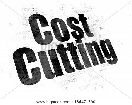 Business concept: Pixelated black text Cost Cutting on Digital background