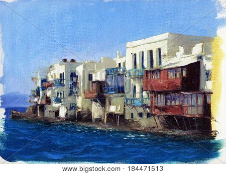 Old houses near the sea on the island of Mykonos , Greece oil painting on canvas