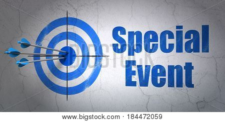 Success finance concept: arrows hitting the center of target, Blue Special Event on wall background, 3D rendering