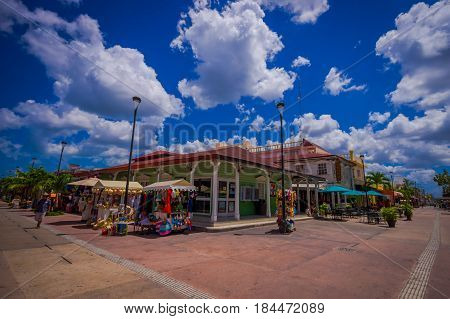 COZUMEL, MEXICO - MARCH 23, 2017: Colorful shop eatery plaza, grocery strore, where people can buy souvenirs to as a memory about beautiful Tropical Island. The economy of Cozumel is based on tourism