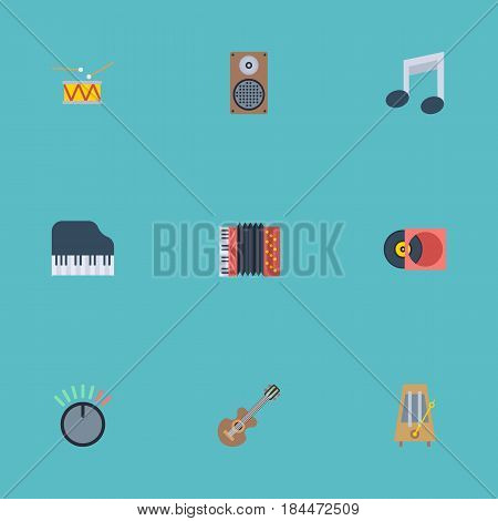 Flat Knob, Harmonica, Retro Disc And Other Vector Elements. Set Of Music Flat Symbols Also Includes Harmonica, Audio, Knob Objects.