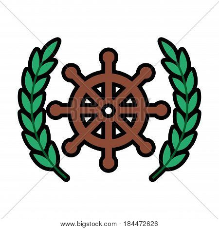 emblem with rudder wheel icon over white background. sea lifestyle concep. vector illustration