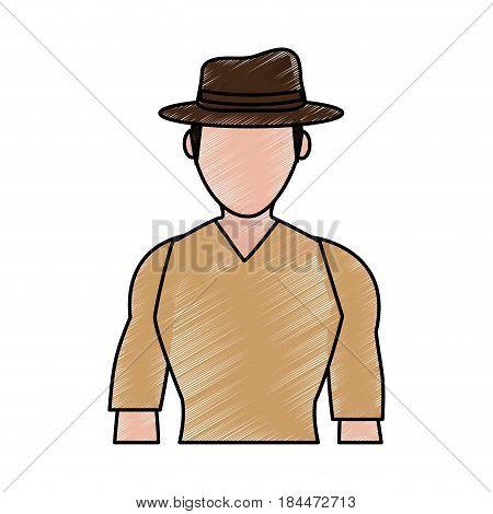 color pencil silhouette half body faceless explorer man with hat vector illustration