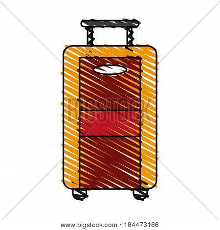 color crayon stripe image travel suitcase with handle vector illustration