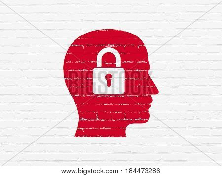 Business concept: Painted red Head With Padlock icon on White Brick wall background