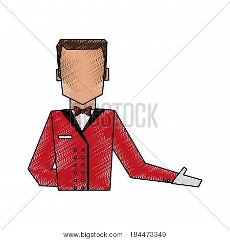 color pencil image silhouette half body faceless bellboy with uniform vector illustration