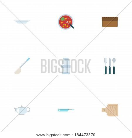 Flat Broth, Skillet, Spice And Other Vector Elements. Set Of Kitchen Flat Symbols Also Includes Frying, Cutting, Broth Objects.