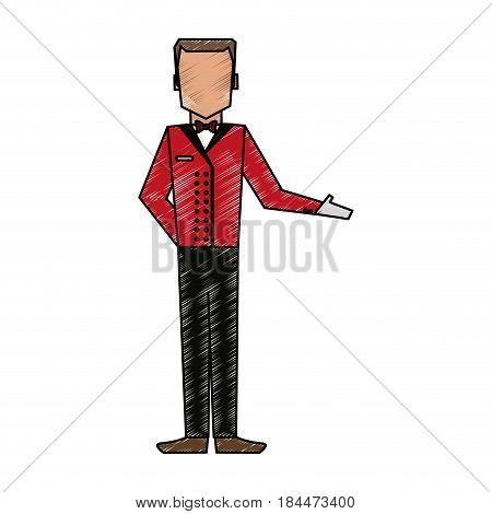 color pencil image silhouette full body faceless bellboy with uniform vector illustration