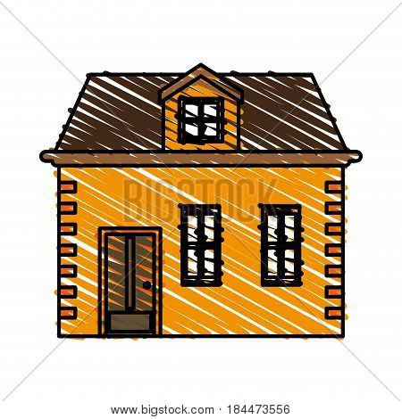 color crayon stripe image cartoon facade house with two floors vector illustration