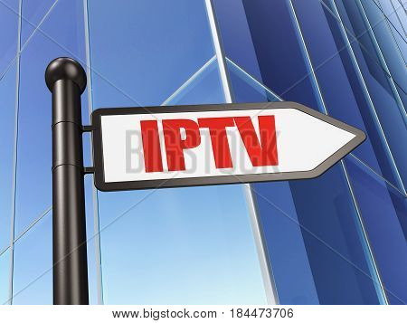 Web development concept: sign IPTV on Building background, 3D rendering