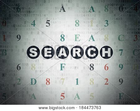 Web design concept: Painted black text Search on Digital Data Paper background with Hexadecimal Code