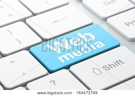 Web design concept: computer keyboard with word Web Media, selected focus on enter button background, 3D rendering