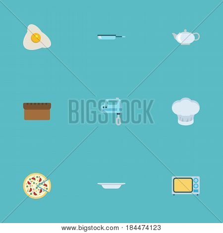 Flat Dish, Skillet, Blender And Other Vector Elements. Set Of Food Flat Symbols Also Includes Beater, Hat, Pot Objects.