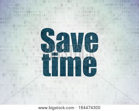 Time concept: Painted blue word Save Time on Digital Data Paper background