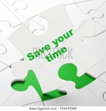 Time concept: Save Your Time on White puzzle pieces background, 3D rendering