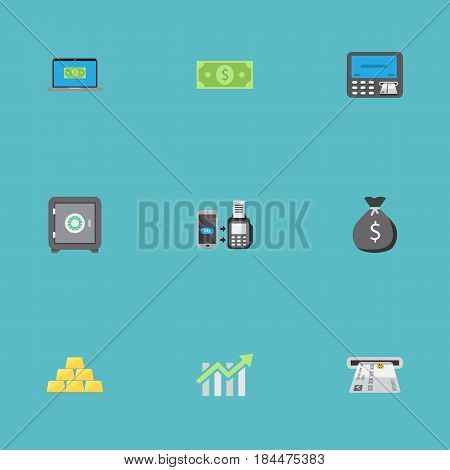 Flat Money, Ingot, Strongbox And Other Vector Elements. Set Of Business Flat Symbols Also Includes Atm, Dollar, Payment Objects.