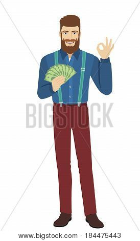 OK! Hipster with cash money showing a okay hand sign. Full length portrait of hipster character in a flat style. Vector illustration.