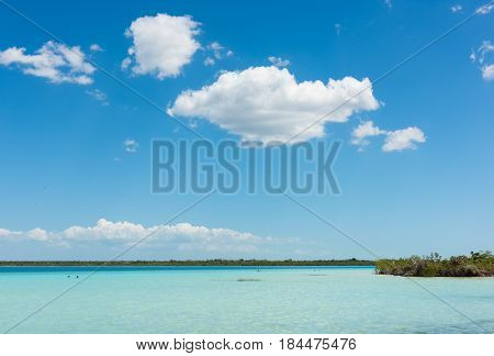 Turquoise colored water in Lake Bacalar, Mexico