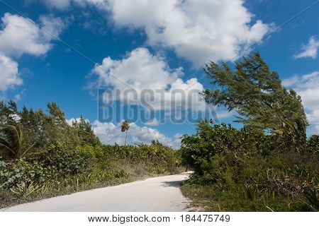 A beach road in Mahahual, Quintana Roo, Mexico