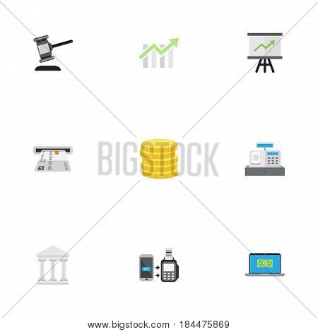 Flat Bank, Teller Machine, Till And Other Vector Elements. Set Of Business Flat Symbols Also Includes Change, Gavel, Growing Objects.