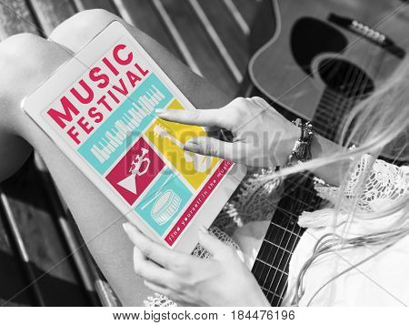 Illustration of music festival passion leisure activity