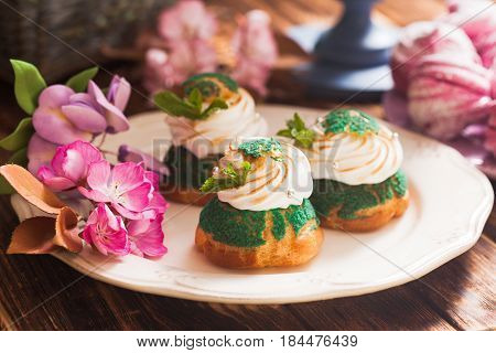 Sweet choux pastry with white cream puff