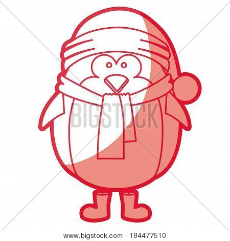 red silhouette of penguin with boots scarf and gloves and christmas hat vector illustration