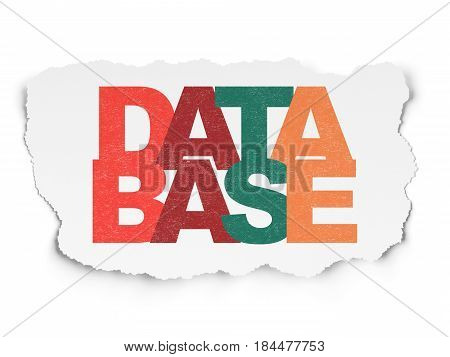Software concept: Painted multicolor text Database on Torn Paper background
